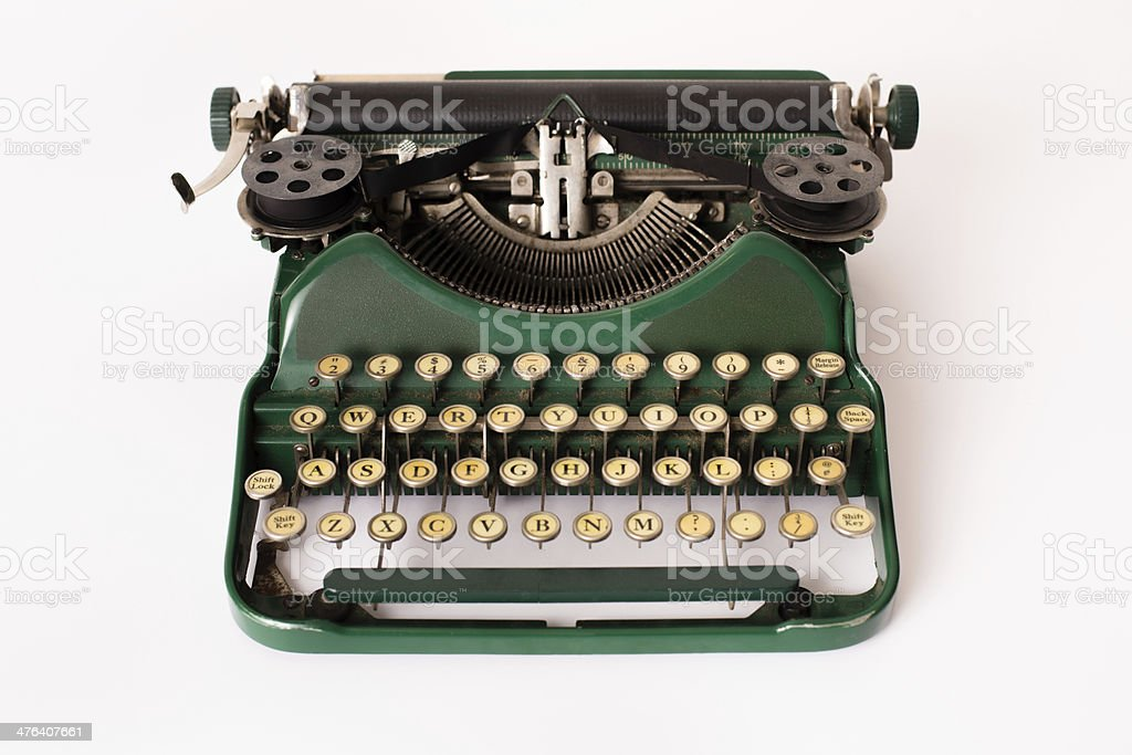 Color Image of Green, Vintage Manual Typewriter, With White Background stock photo