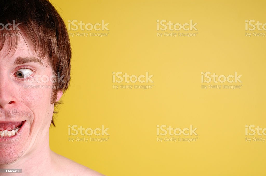 Color Image of Man Expressing Goofiness/Stupidity, With Copy Space royalty-free stock photo