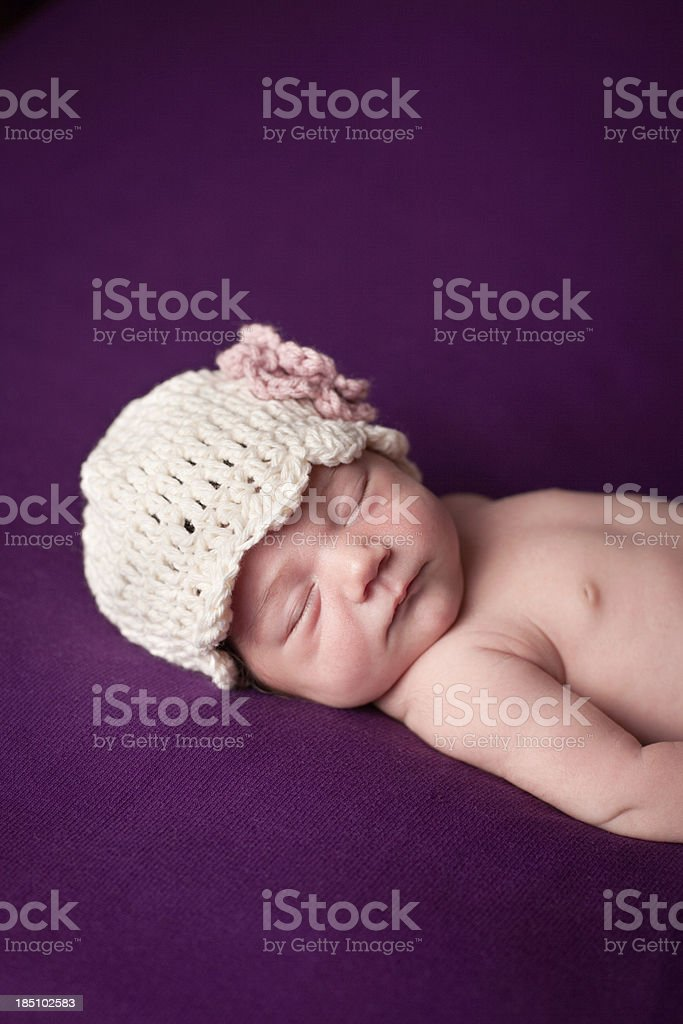 Color Image of Newborn Baby Girl Wearing Crochet Hat royalty-free stock photo