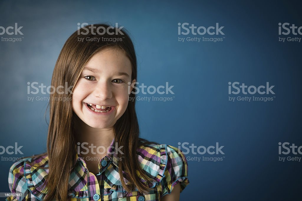 Color Image of Nine Year Old Girl, With Copy Space royalty-free stock photo