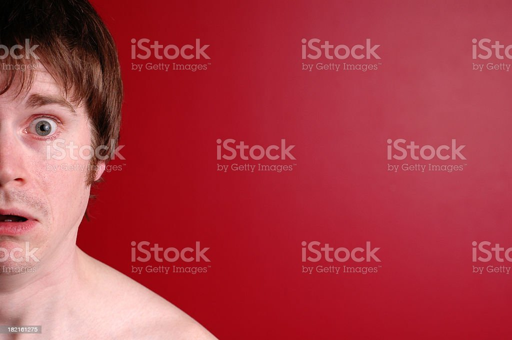 Color Image of Scared/Shocked Man, with Copy Space stock photo