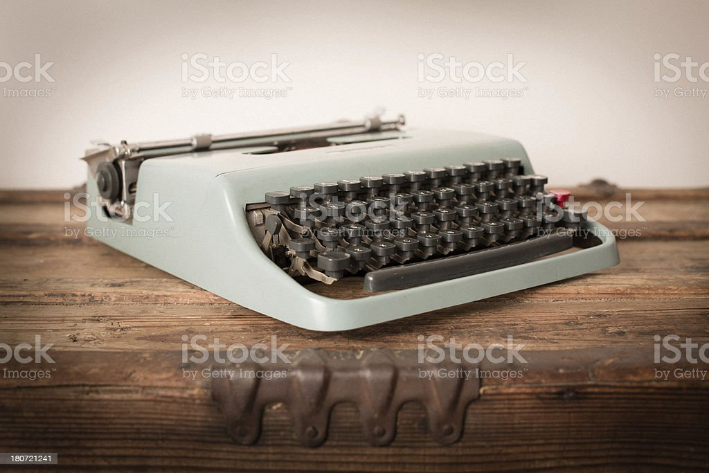 Color Image of Teal, Vintage Manual Typewriter royalty-free stock photo