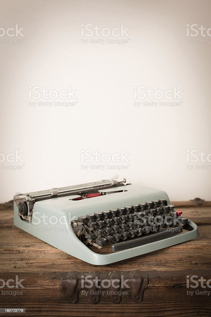 Color Image of Teal, Vintage Manual Typewriter, With Copy Space royalty-free stock photo
