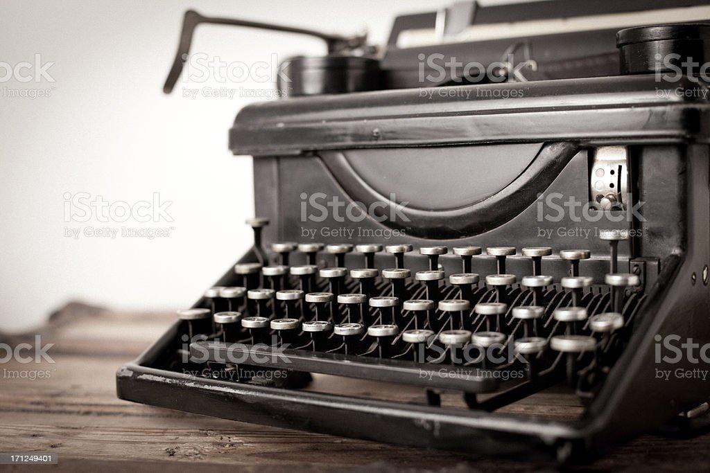 Color Image of Vintage Black, Manual Typewriter on White Background royalty-free stock photo