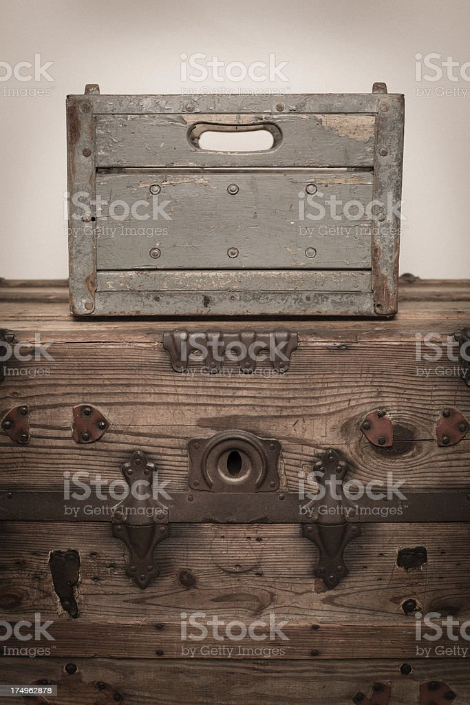 Color Image of Vintage Milk Crate Sitting on Old Trunk royalty-free stock photo