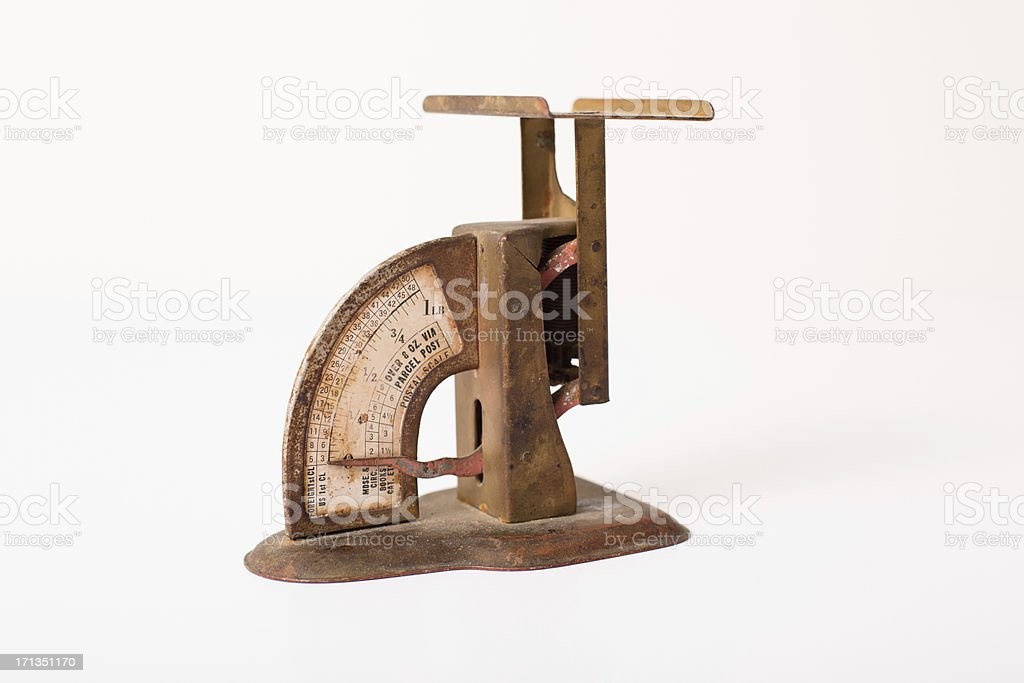Color Image of Vintage Postal Scale, Isolated on White stock photo