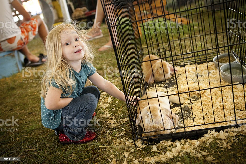 Color Image of Young Girl Petting Bunny at County Fair royalty-free stock photo