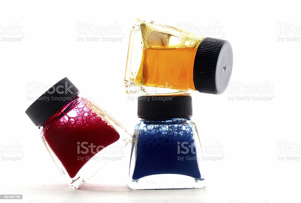 color ink pots stock photo
