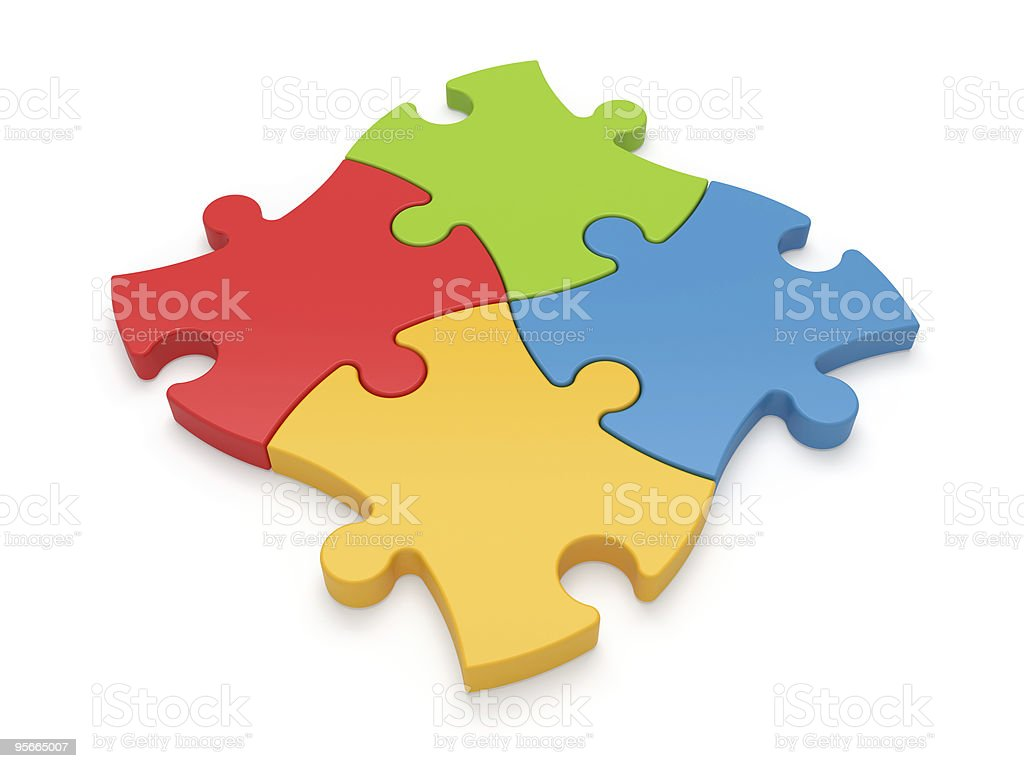 Color jigsaw puzzle pieces royalty-free stock photo