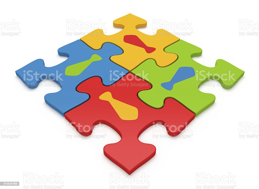 Color Jigsaw Puzzle Pieces - Teamwork Concept royalty-free stock photo