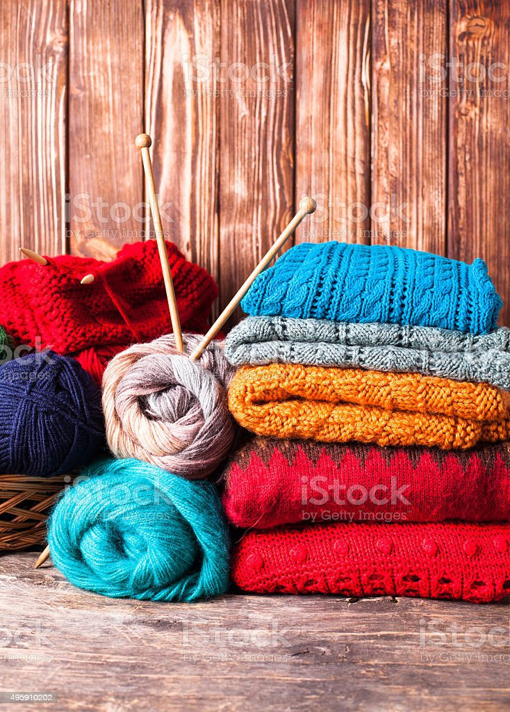 Color knitted clothes stock photo