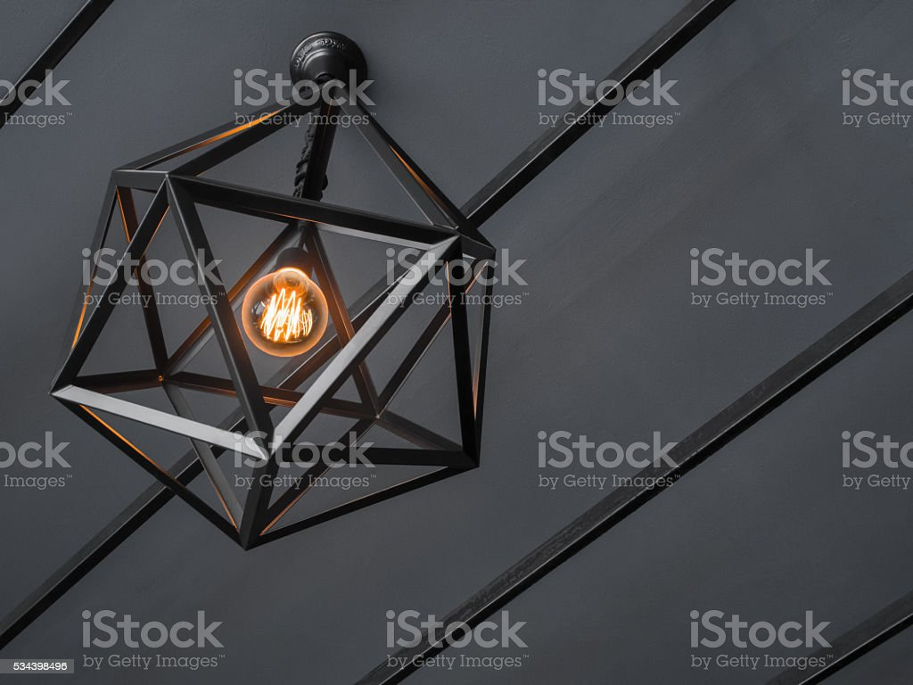 Color lamp on black and white background stock photo