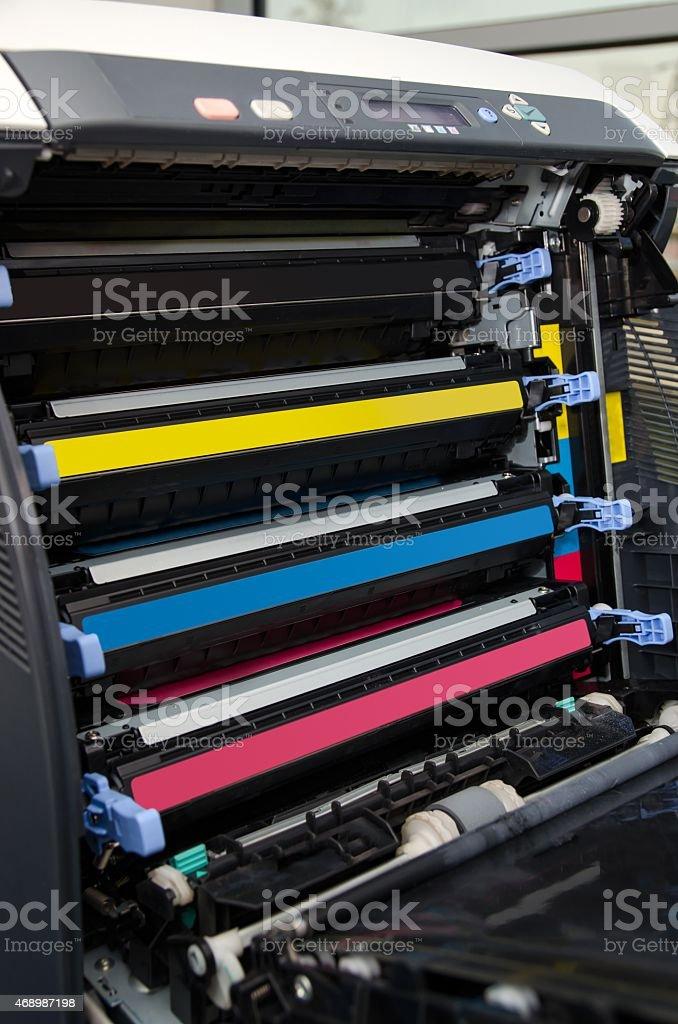 Color laser printer toners cartridges stock photo