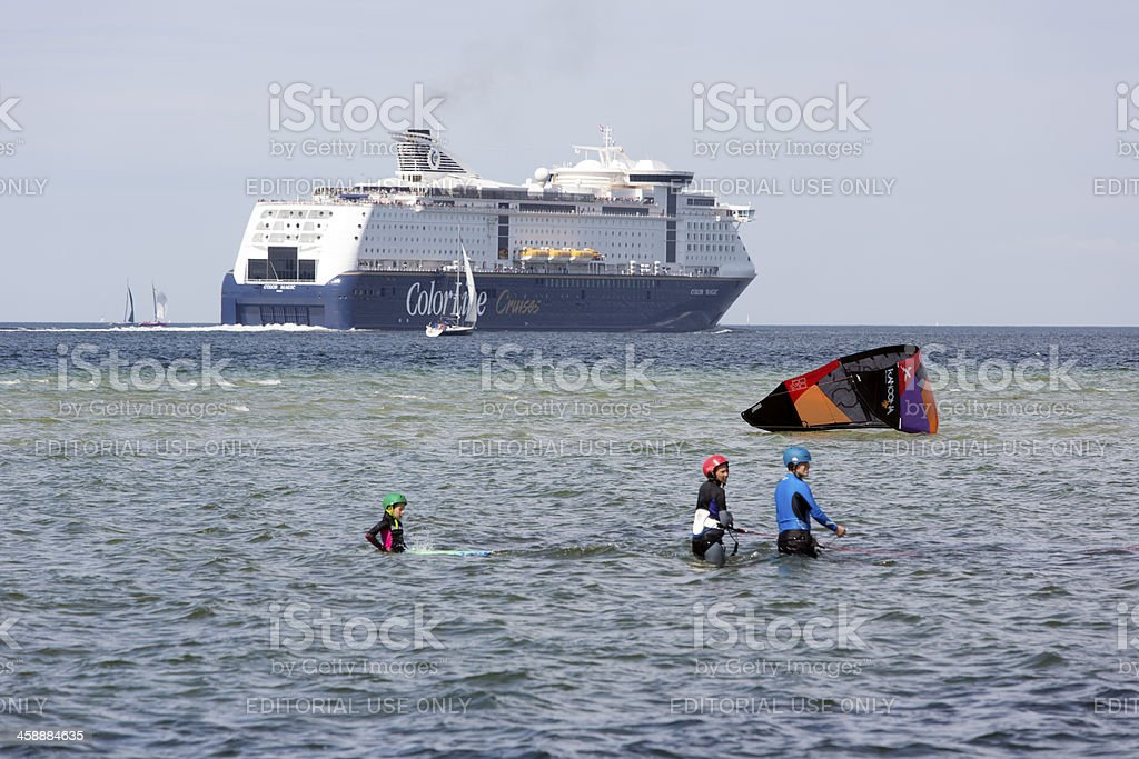 Color Line Ferry leaving Kiel, Germany stock photo