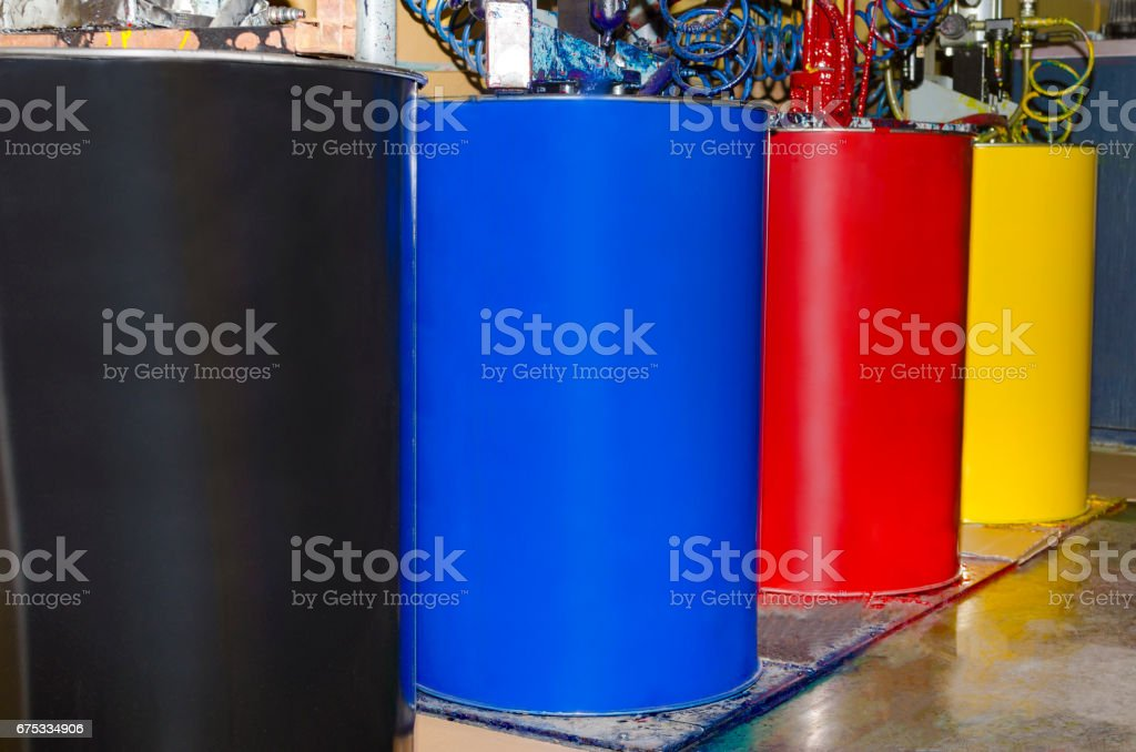 CMYK color loading unit in large offset printing roto machine stock photo
