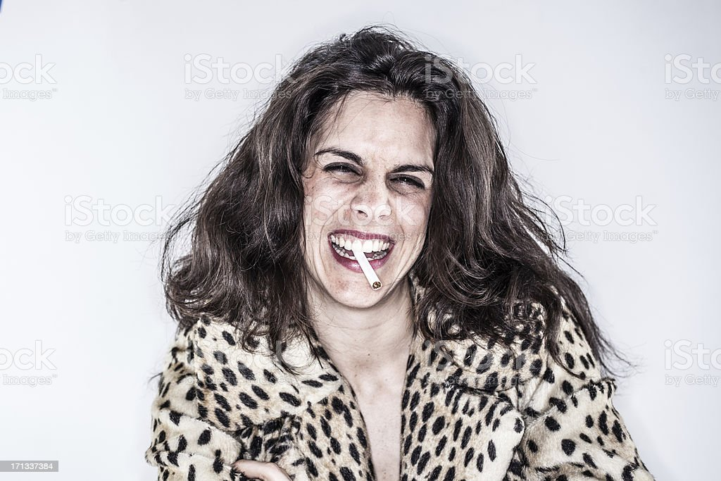 Color Long Haired Woman Smoking Leopard Print Jacket White Background stock photo