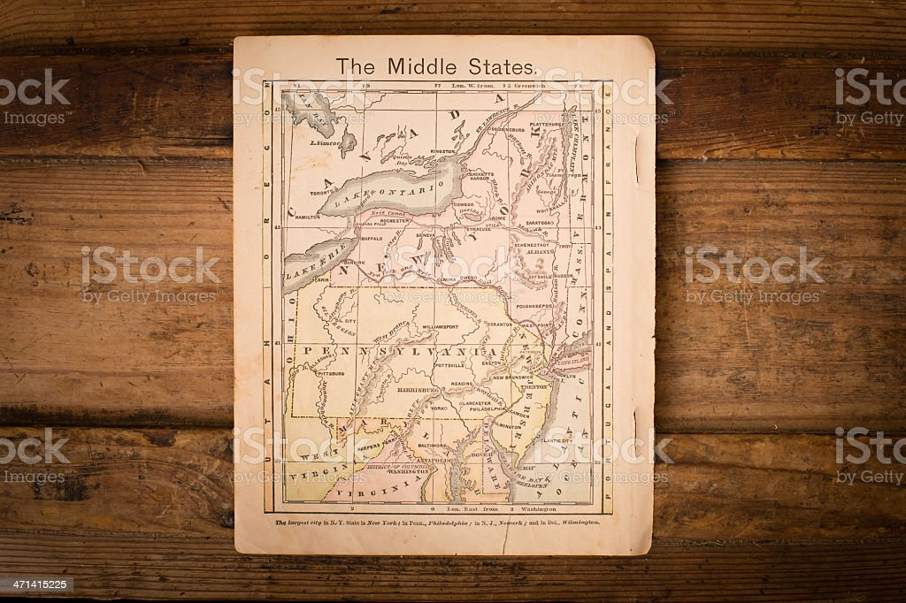 1867, Color Map of Middle (United) States, On Wood Background stock photo