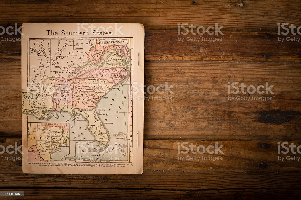 1867, Color Map of Southern (United) States, With Copy Space stock photo