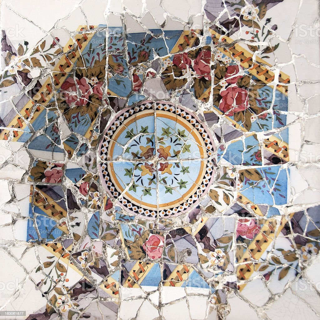Color Mosaic patterns at Park Guell, Barcelona, Spain royalty-free stock photo