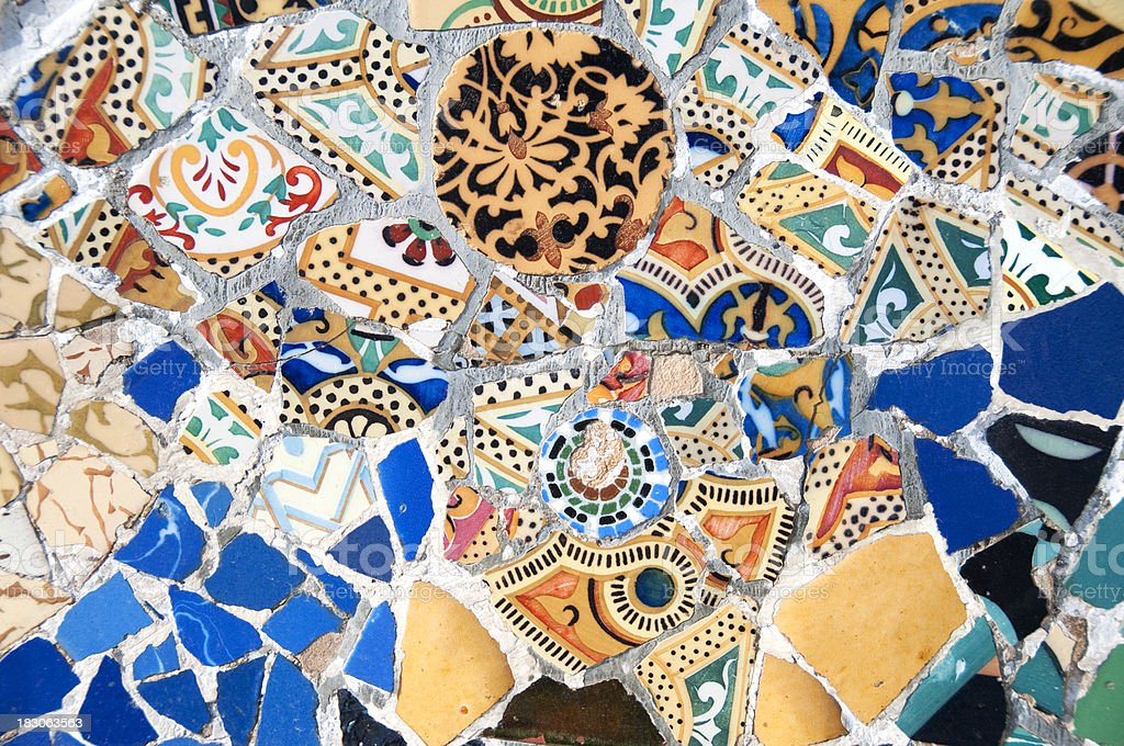 Color Mosaic wall patterns at Park Guell, Barcelona, Spain stock photo
