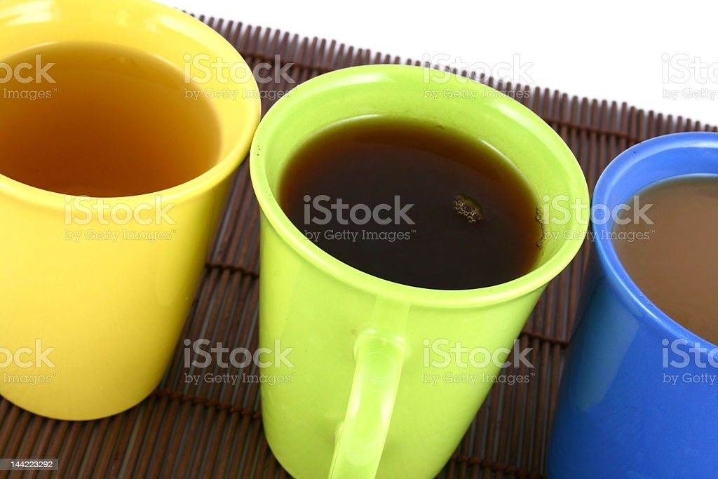 color mug (with tea and coffee) royalty-free stock photo