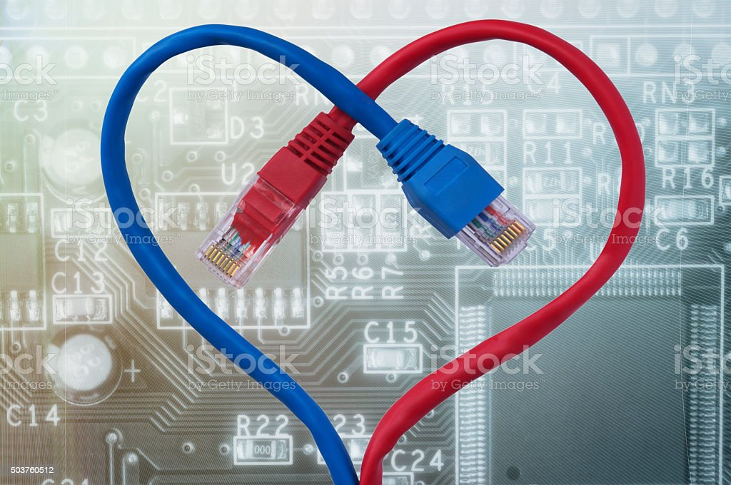 Color network cables  in form of human heart. stock photo