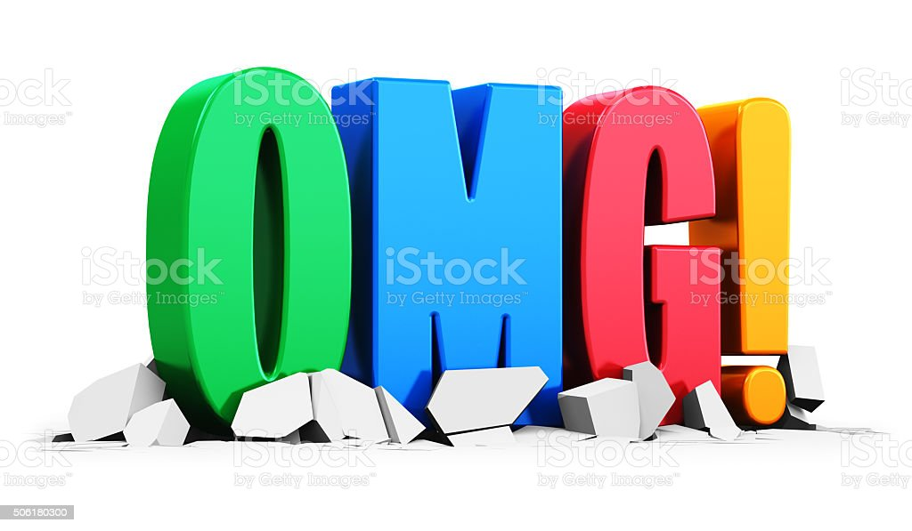 Color OMG! text on white cracked surface stock photo