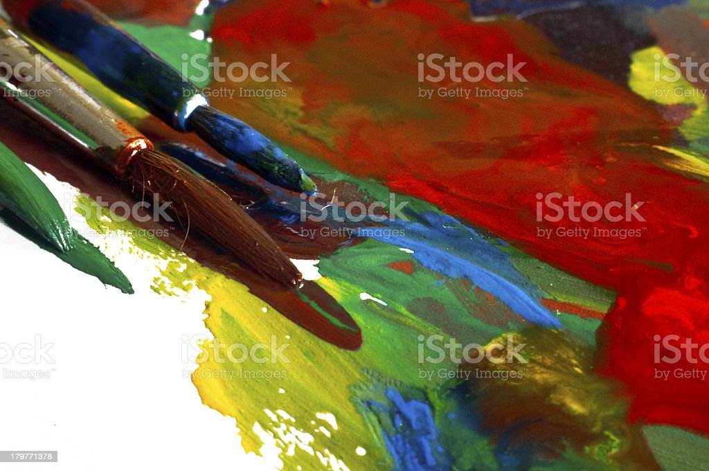 Color Paint and Brushes royalty-free stock photo