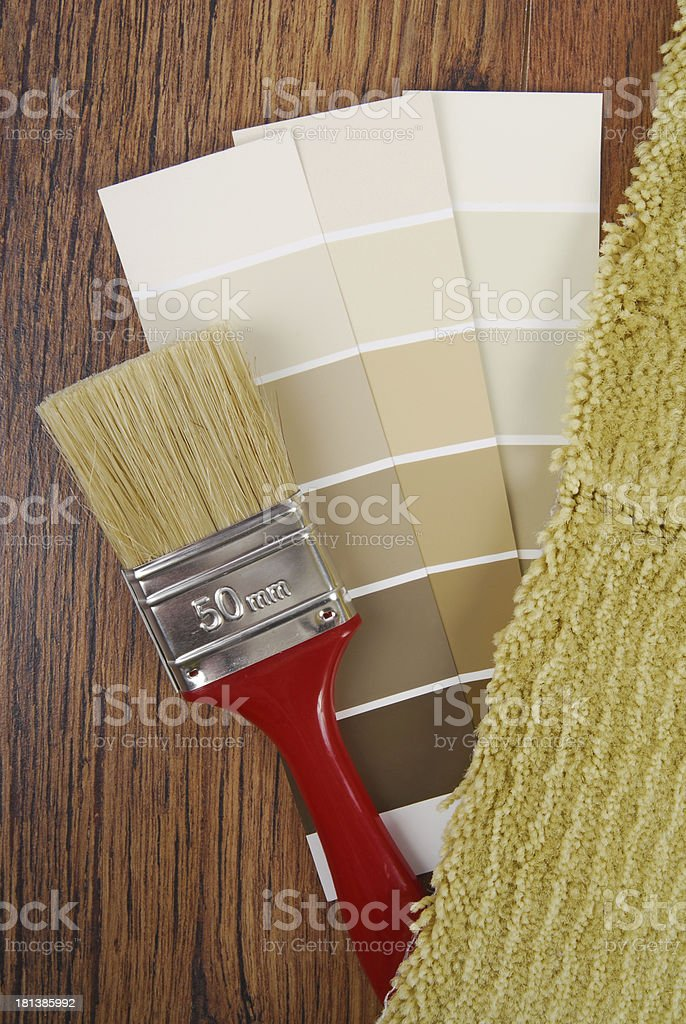 color paint   and carpet choice for interior royalty-free stock photo