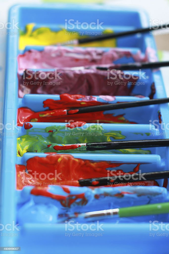 Color paint brushes and watercolor royalty-free stock photo