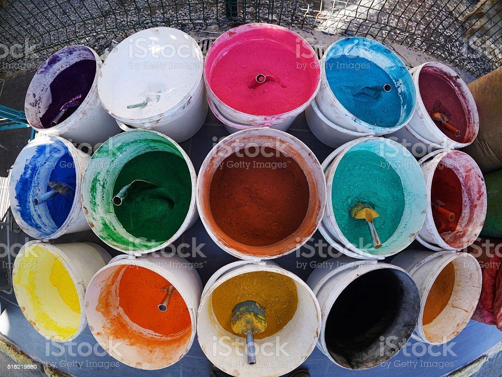 Color paint cans stock photo