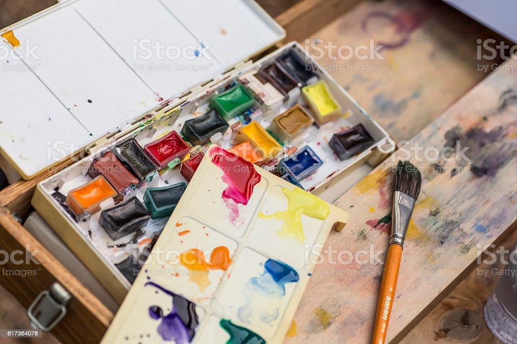 color paint palette stock photo