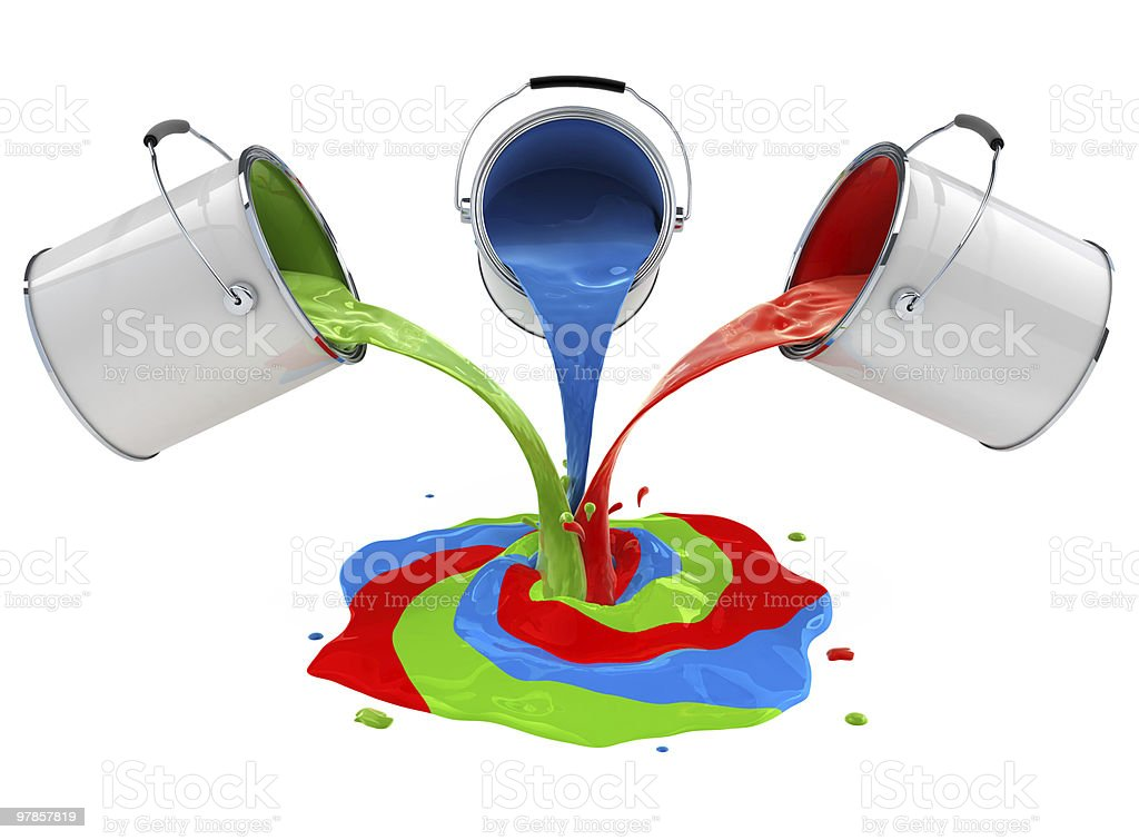 color paint pouring from buckets and mixing stock photo