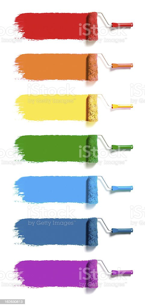 color paint rollers stock photo