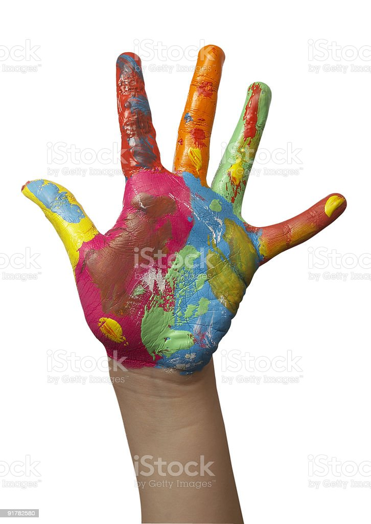 color painted child hand royalty-free stock photo