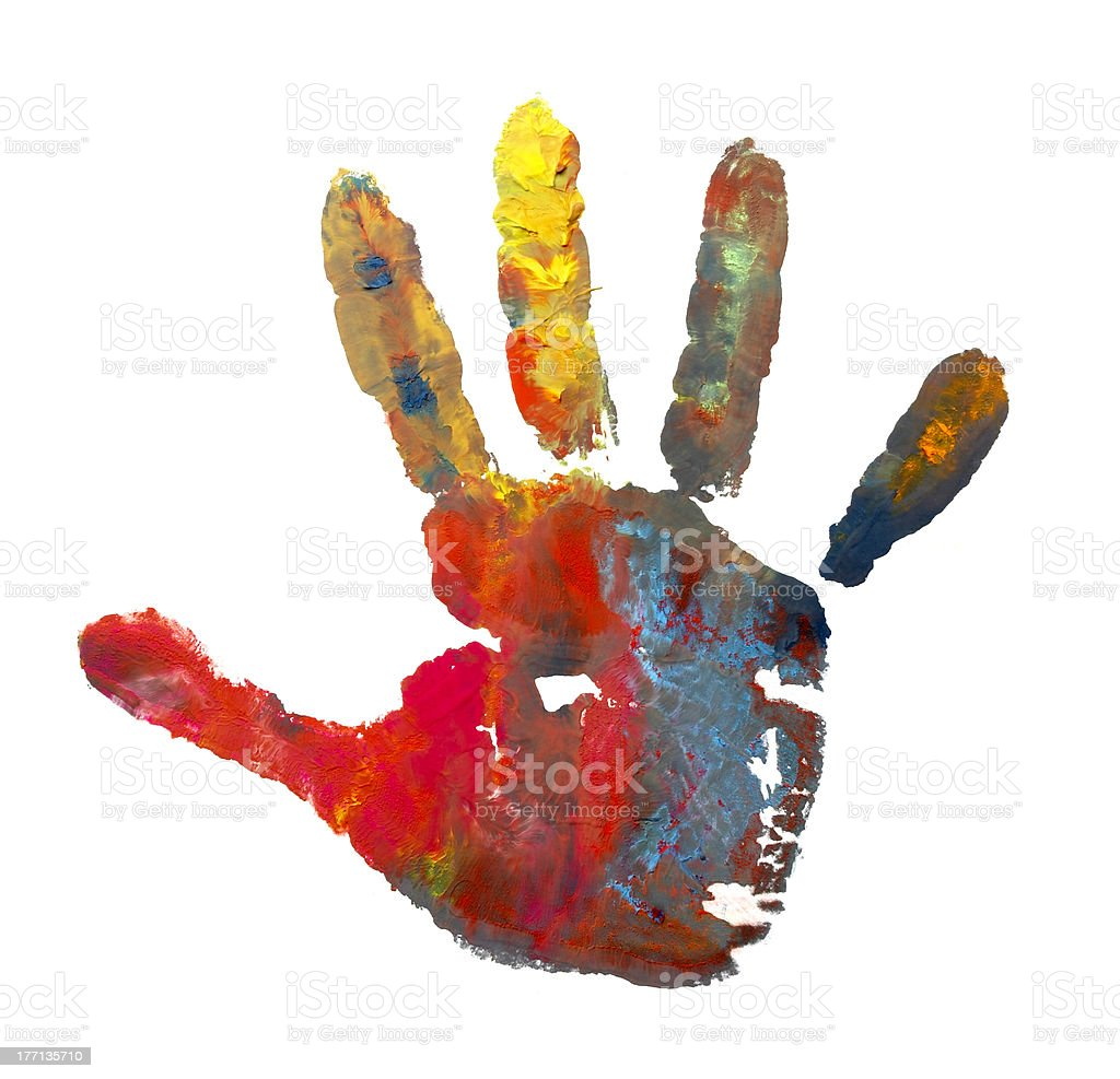 color painted hand print stock photo