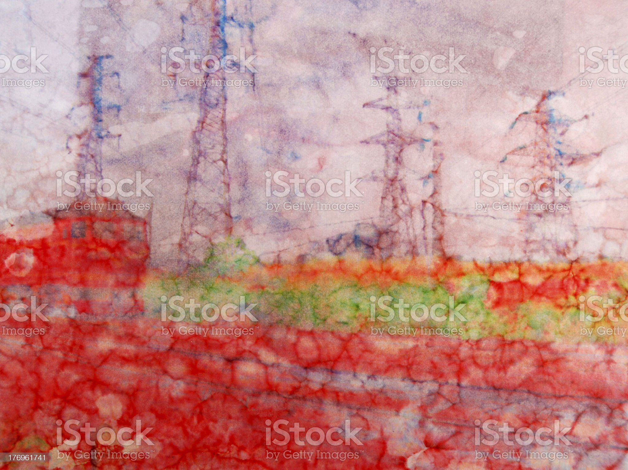 color painting background,red train royalty-free stock photo