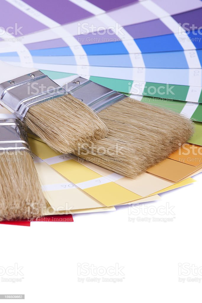 Color palette and a brush royalty-free stock photo