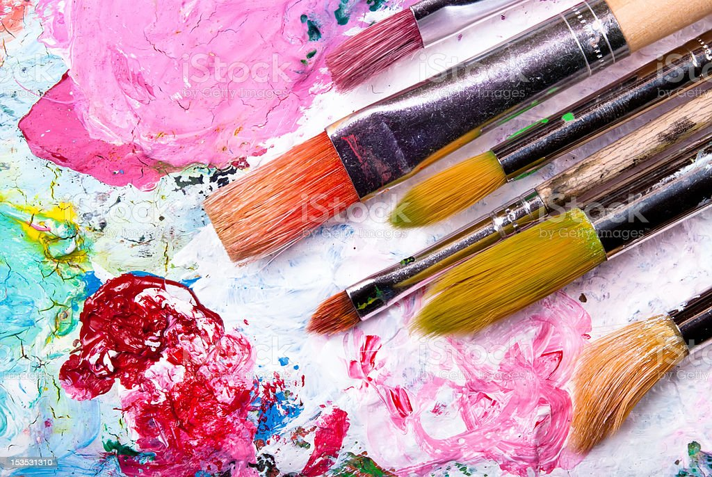 Color palette with brush stock photo
