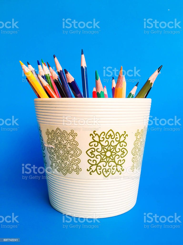 color pencil in a pot stock photo
