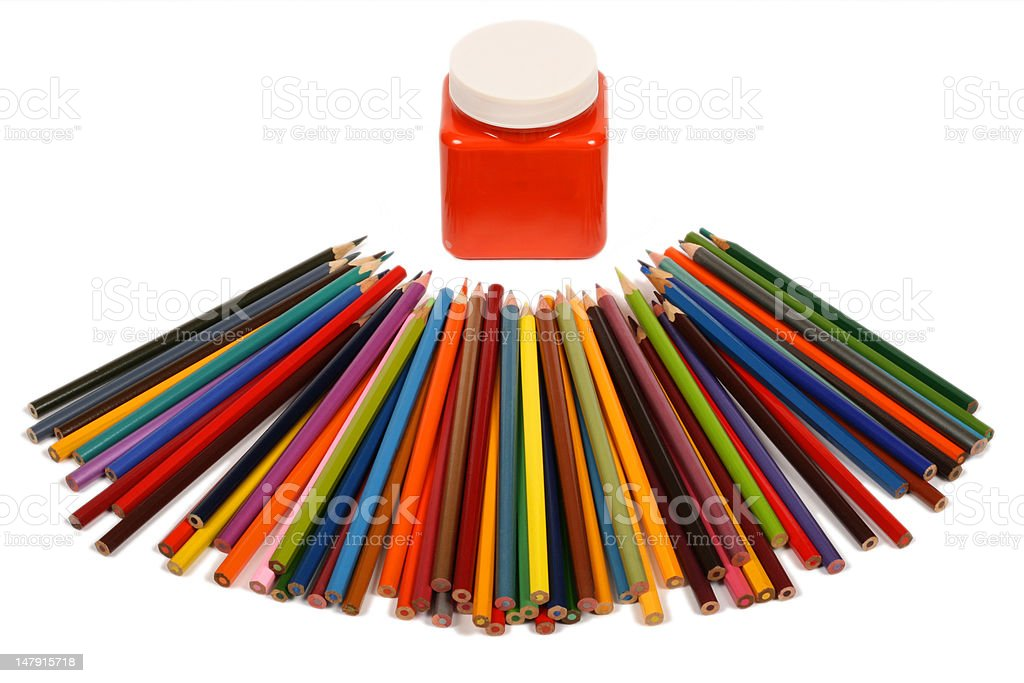 Color pencils and jar of a paint royalty-free stock photo