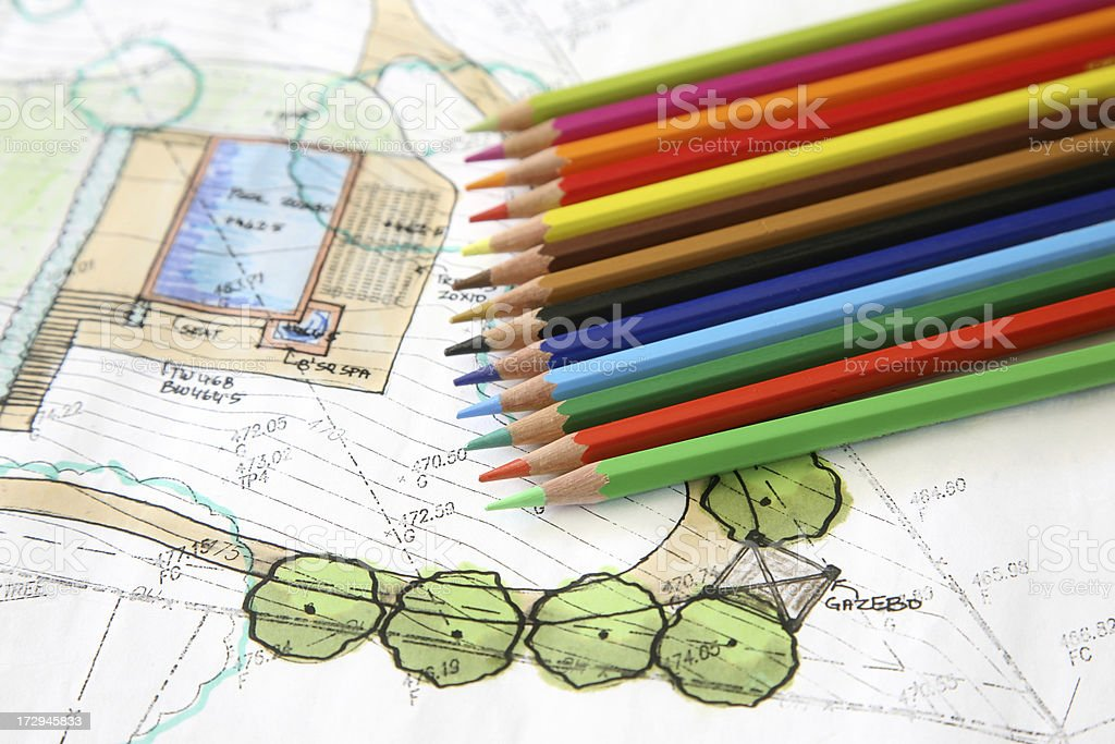 Color Pencils and Landscaping Design royalty-free stock photo