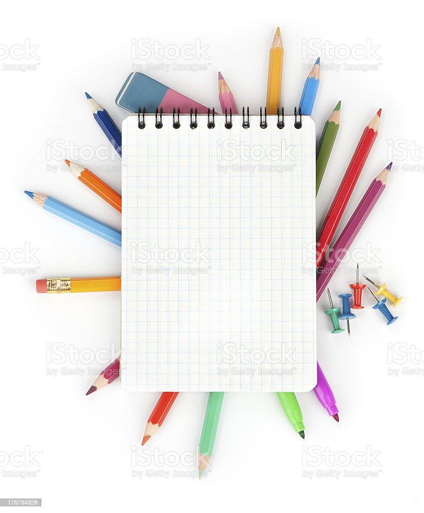 Color pencils and notepad. school concept royalty-free stock photo