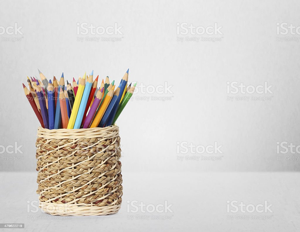 Color pencils and pens in  vase stock photo