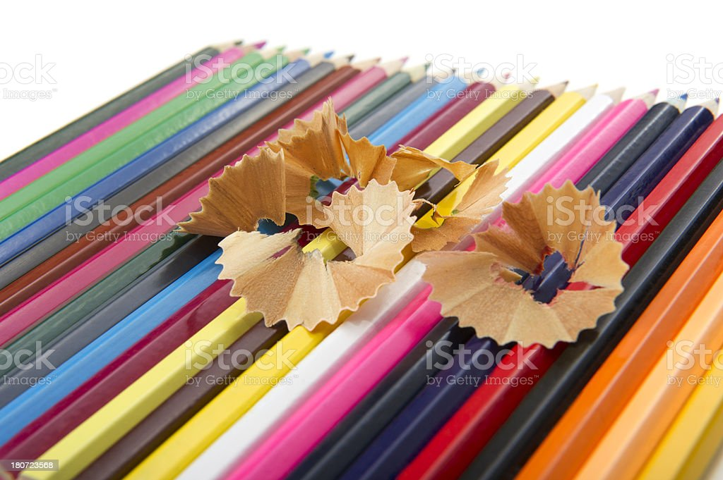Color Pencils and Scraps royalty-free stock photo