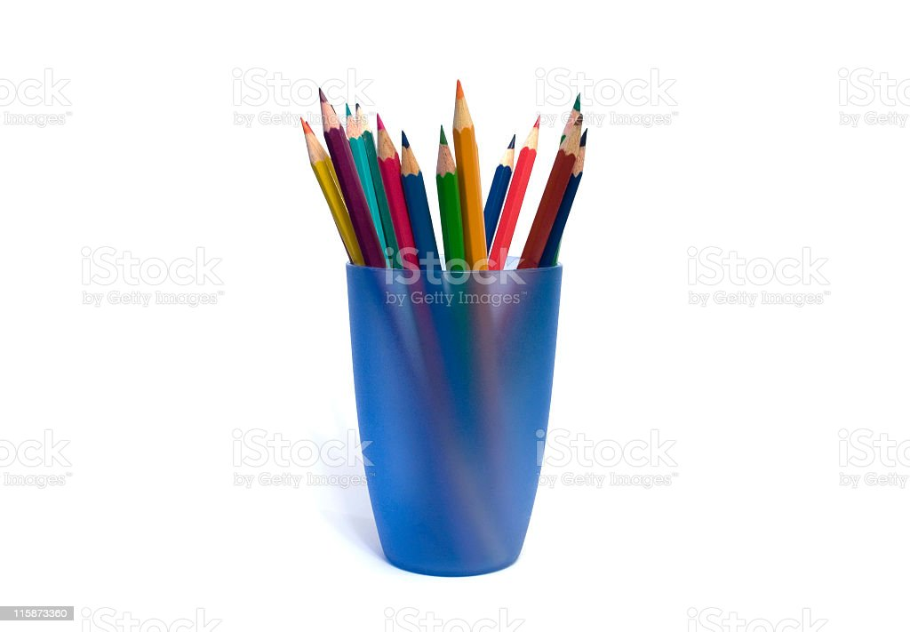 Color pencils in blue cup stock photo