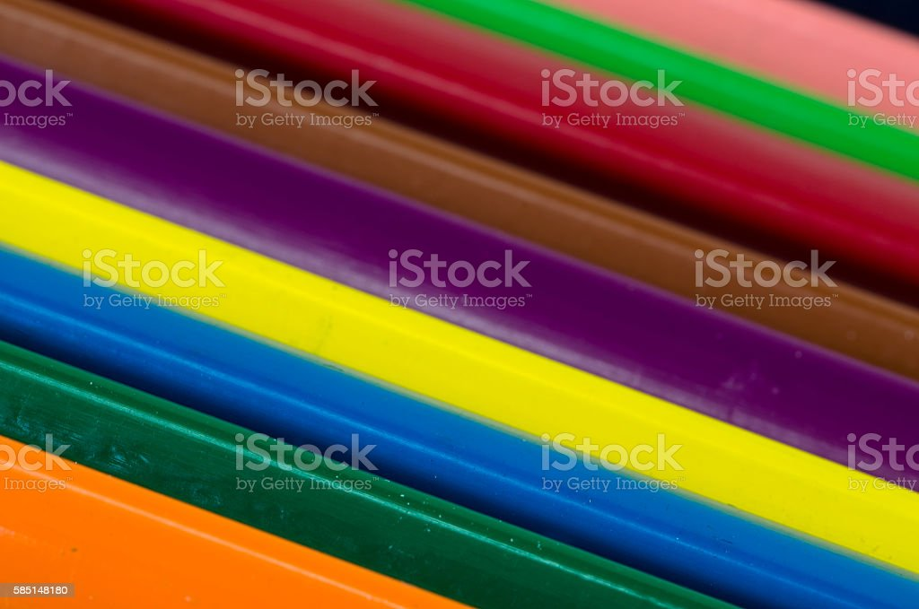 color pencils in line stock photo