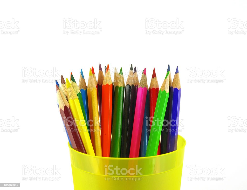 Color pencils in the yellow prop royalty-free stock photo