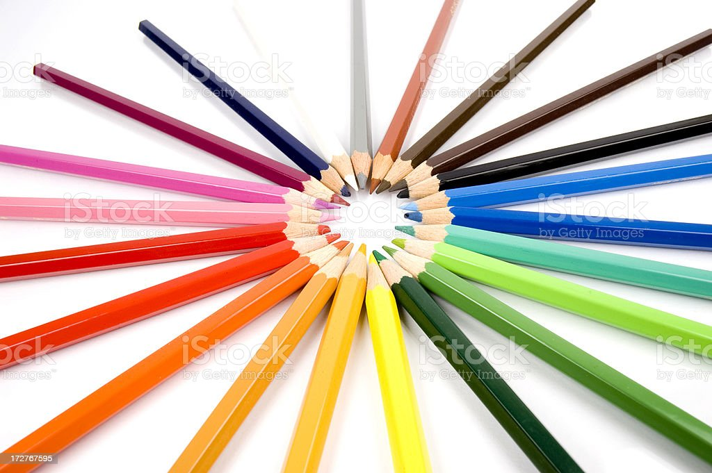 color pencils making a ring royalty-free stock photo
