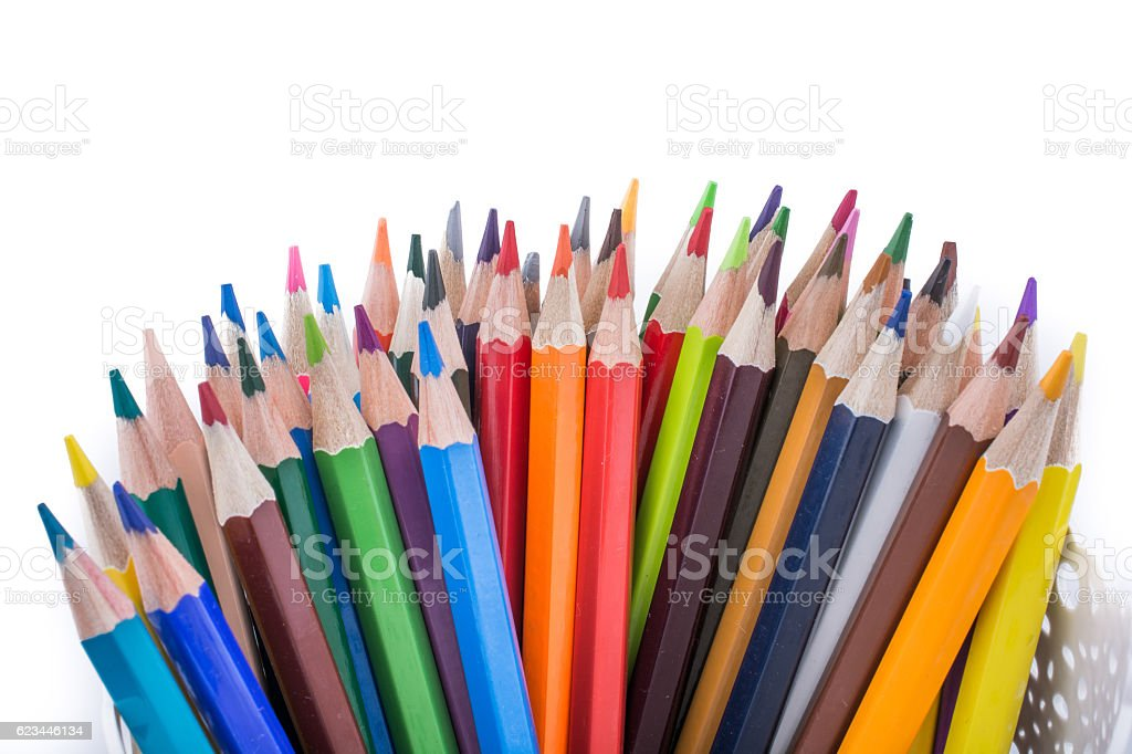 Color Pencils of various colors stock photo